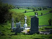 Headstone Prints - Burren Crosses County Clare Ireland Print by Teresa Mucha