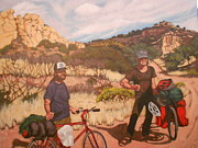 Mountain Bike Paintings - Burris Brothers in Exile by Bonnie Behan