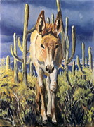 Wild Horse Paintings - Burro baby Blues by Melody Perez