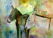 Donkeys Art - Burros by Arline Wagner