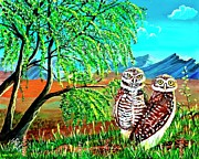 Burrowing Painting Framed Prints - Burrowing Owls Framed Print by Jayne Kerr Proano
