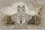 Virginia Tech Prints - Burruss Hall Series II Print by Kathy Jennings