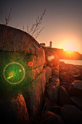 Nubble Lighthouse Photo Posters - Burst Of Nubble Poster by Emily Stauring