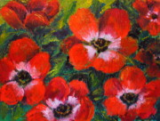 Red Poppies Drawings - Burst of Poppies by Outre Art Stephanie Lubin