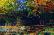 Impressionism Mixed Media Metal Prints - Bursting Autumn Cheer Metal Print by Stephen Lucas