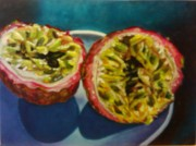 Passion Fruit Painting Prints - Bursting Passion Print by Viviana Ziller