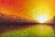 Abstract Landscape Paintings - Bursting Sun by Jaison Cianelli