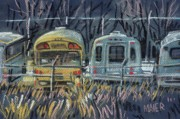 Storage Pastels Prints - Bus Parking Print by Donald Maier
