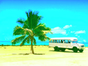 Lahaina Mixed Media Prints - Bus Stop in Paradise Print by Dominic Piperata