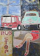 Cars Ceramics Originals - Bus Stop by Jackie Ramo