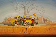 Travel Destination Painting Originals - Bus Stop by Nisty Wizy