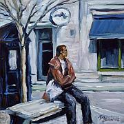 City Scape Originals - Bus Stop by Richard T Pranke