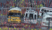 Bus Pastels - Bus Yard by Donald Maier
