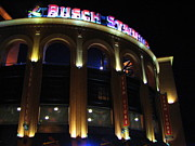 Baseball Stadiums Prints - Busch Stadium at Night Print by Kathleen Hinson