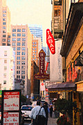 Big Cities Digital Art Prints - Bush Street in San Francisco Print by Wingsdomain Art and Photography