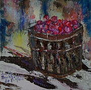 Bushel Basket Framed Prints - Bushel of Snow Apples Framed Print by Judith Espinoza