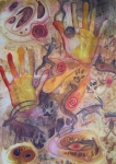 Hands Mixed Media - Bushman Comes Alive by Vijay Sharon Govender