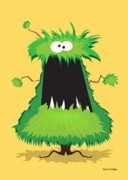 Cartoon Monster Prints - Bushy  Print by Robin Crossman