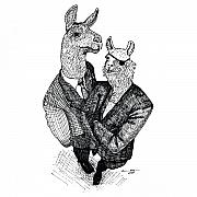 Llama Drawings Posters - Business Llamas Poster by Karl Addison