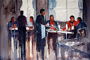 Waiter Painting Prints - Business Lunch Print by Ryan Radke