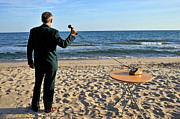 On The Phone Prints - Businessman on beach with Landline Phone receiver Print by Sami Sarkis