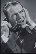 40-44 Years Framed Prints - Businessman On The Phone, Circa 1949 Framed Print by Archive Holdings Inc.