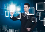 Selecting Metal Prints - Businessman Pressing Touchscreen Metal Print by Setsiri Silapasuwanchai