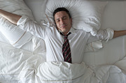 Business-travel Art - Businessman Waking Up With Clothes On by Tooga