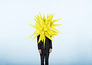 Young Man Posters - Businessman With A Big Paper Starburst On His Head Poster by Eric Pelaez