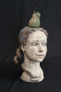 Clay Ceramics Metal Prints - Bust Of A Girl Metal Print by Kathleen Raven