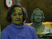 Clay Sculptures - Bust of Mother  by Terri  Meyer