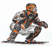 San Francisco Giants Painting Framed Prints - Buster Posey Framed Print by Terry Banderas
