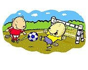 Cartoonist Prints - Busy Beaver Soccer Print by Scott Nelson