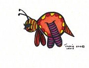 Bee Drawings - Busy Bee by Jackie Lewis