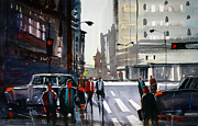 Figures Paintings - Busy City - Chicago by Ryan Radke
