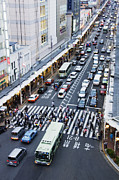 Crosswalk Prints - Busy Downtown Street in Japan Print by Jeremy Woodhouse