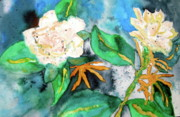Gardenias Framed Prints - Busy Gardenias Framed Print by Beverley Harper Tinsley