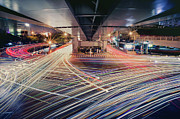 Traffic Light Framed Prints - Busy Light Trail In City At Night Framed Print by Yiu Yu Hoi