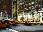 Cabs Framed Prints - Busy New York Framed Print by Stefan Kuhn