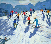 Ski Resort Paintings - Busy Ski Slope by Andrew Macara
