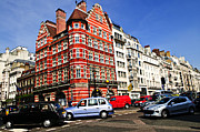 Townhouses Prints - Busy street corner in London Print by Elena Elisseeva