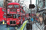 Uk Mixed Media Framed Prints - Busy Streets Framed Print by Claire S Wilson