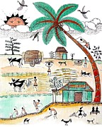 Children Day Drawings - Busy Warli day by Anjali Vaidya