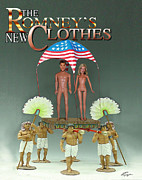 Mitt Romney Posters - But-But They Are Not Wearing Any Clothes - Mitt Ken and Anne Barbie Romney  Poster by Reggie Duffie