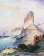 Watercolor On Paper Posters - Butte Green River Wyoming Poster by Thomas Moran