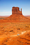 Road Travel Prints - Butte with truck Print by Jane Rix