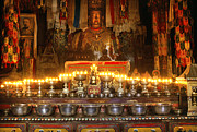 Tibetan Buddhism Metal Prints - Butter Lamps - Samye Monastery Tibet Metal Print by Craig Lovell