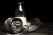 Buttermilk Photos - Butter Mold and Milk Bottles by Tom Mc Nemar