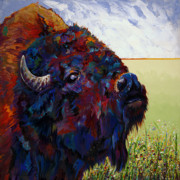 Abstract Bull Painting Posters - Buttercup Poster by Bob Coonts