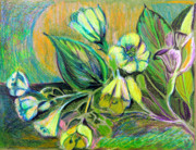 Colored Pencil Mixed Media Metal Prints - Buttercups Metal Print by Mindy Newman